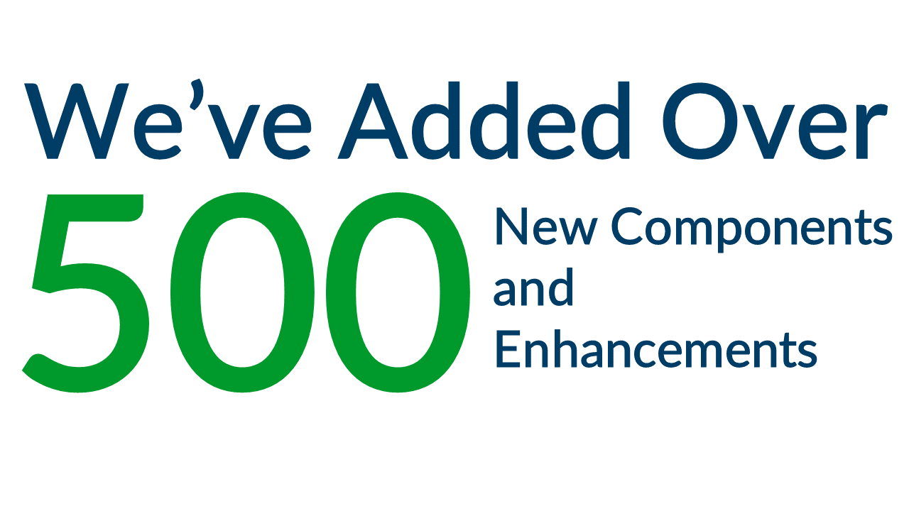 We've Added Over 450 New Enhancments, Components and Updates