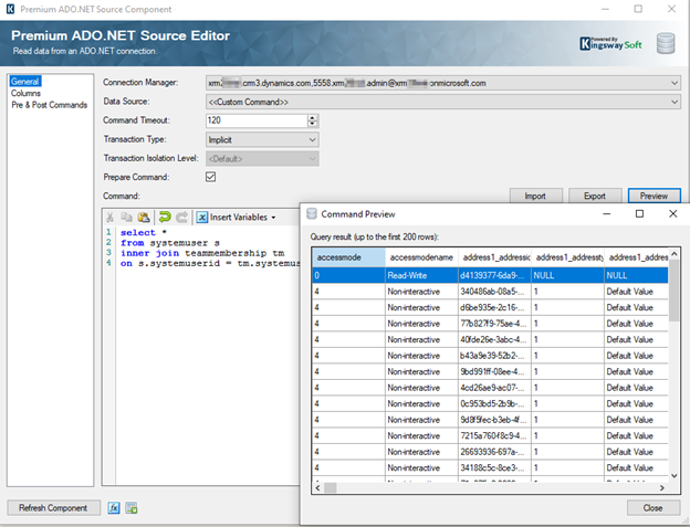 Premium ADO.NET Source Component with Custom Command feature for SQL Query