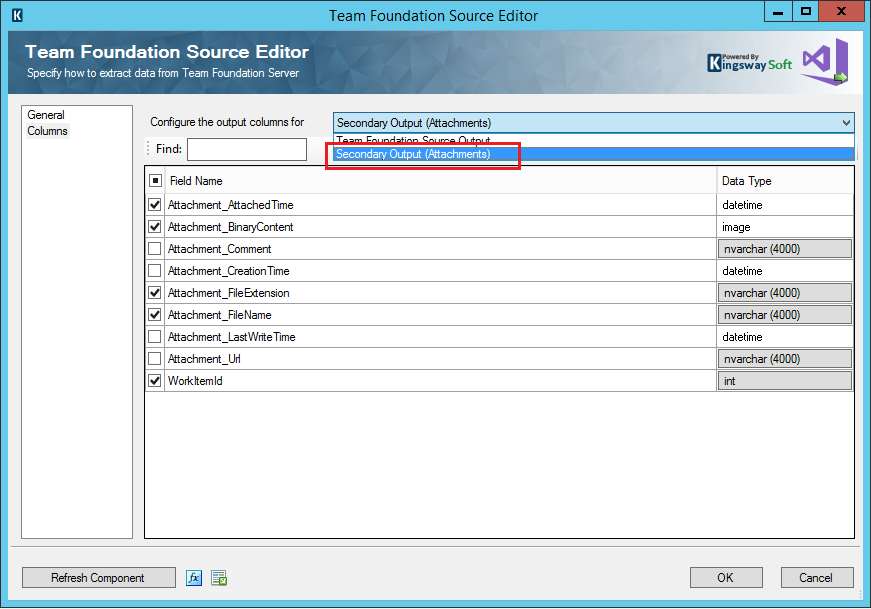 Team Foundation Source Editor - Secondary Output
